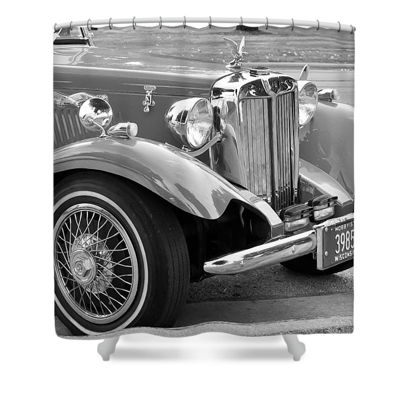Automobile Shower Curtain featuring the photograph Red Roadster by Guy Whiteley