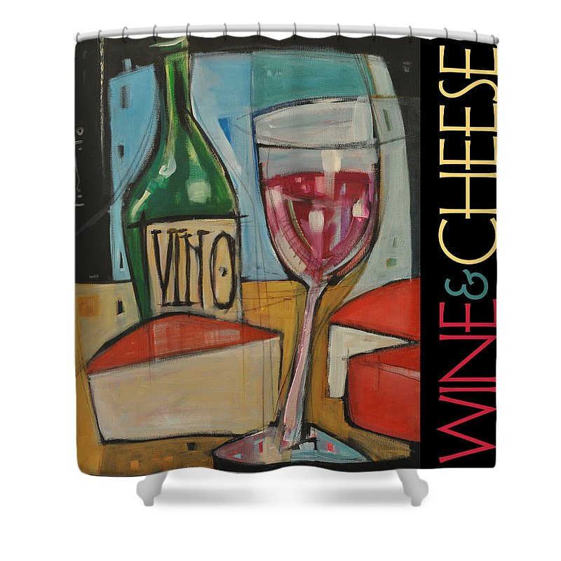 Beverage Shower Curtain featuring the painting Red Wine And Cheese Poster by Tim Nyberg