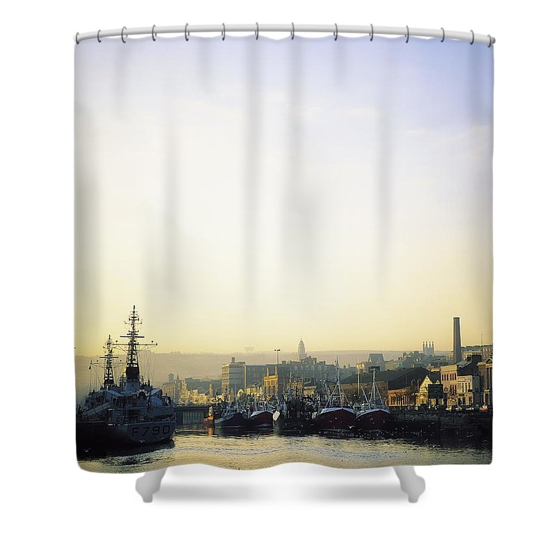 Boat Shower Curtain featuring the photograph River Lee, Cork, Co Cork, Ireland by The Irish Image Collection