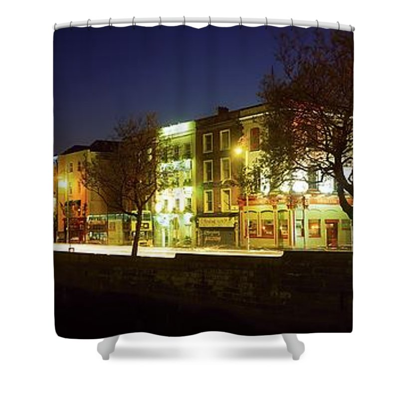 Architecture Shower Curtain featuring the photograph River Liffey, Dublin, Co Dublin, Ireland by The Irish Image Collection