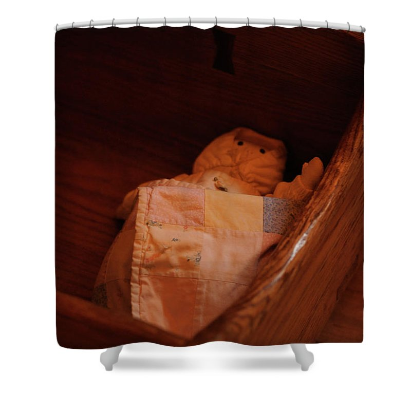 Wooden Cradle Shower Curtain featuring the photograph Rock-a-bye My Baby by Linda Shafer