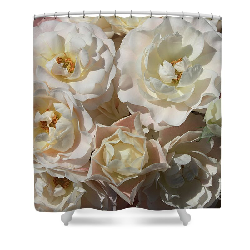 Roses Shower Curtain featuring the photograph Romantic White Roses by Carol Groenen