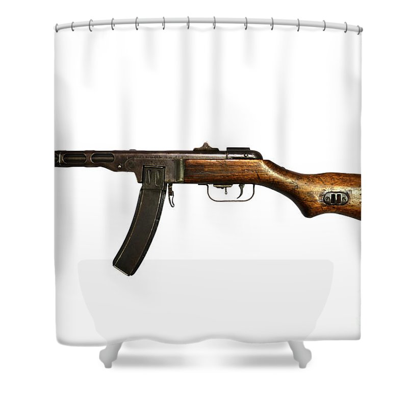 Single Object Shower Curtain Featuring The Photograph Russian Ppsh 41 Submachine Gun By Andrew Chittock