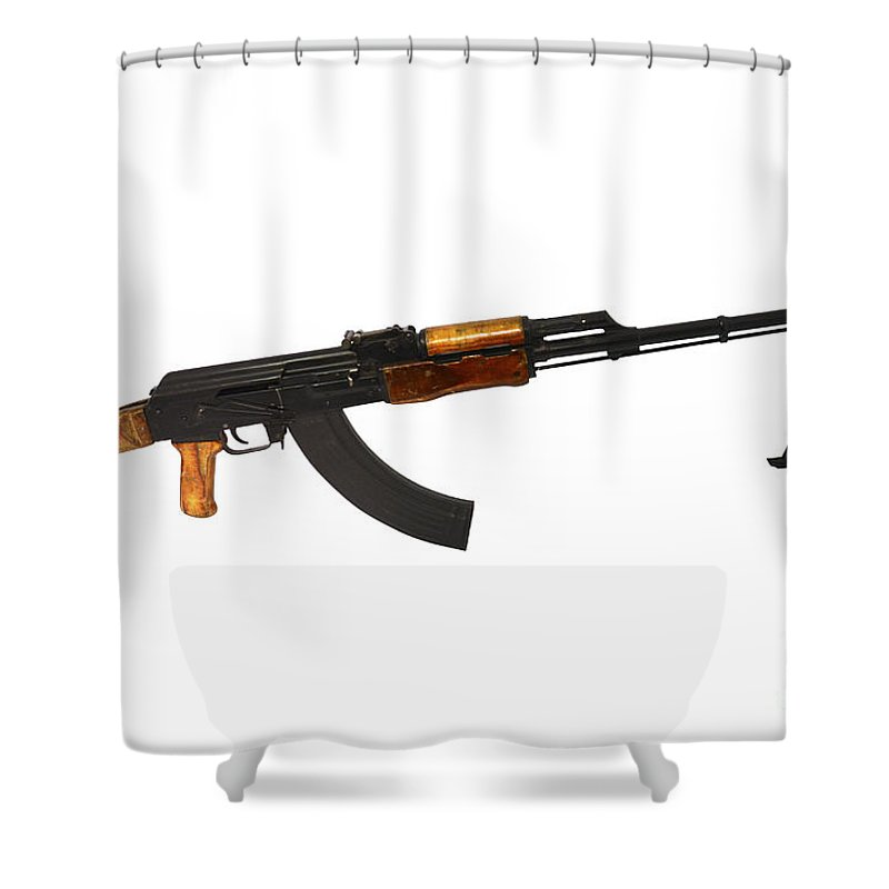 Single Object Shower Curtain Featuring The Photograph Russian Rpk 762mm Light Machine Gun By Andrew
