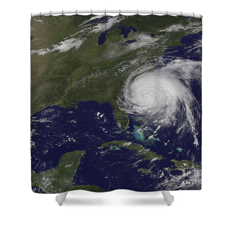 East Coast Shower Curtain featuring the photograph Satellite View Of Hurricane Irene by Stocktrek Images