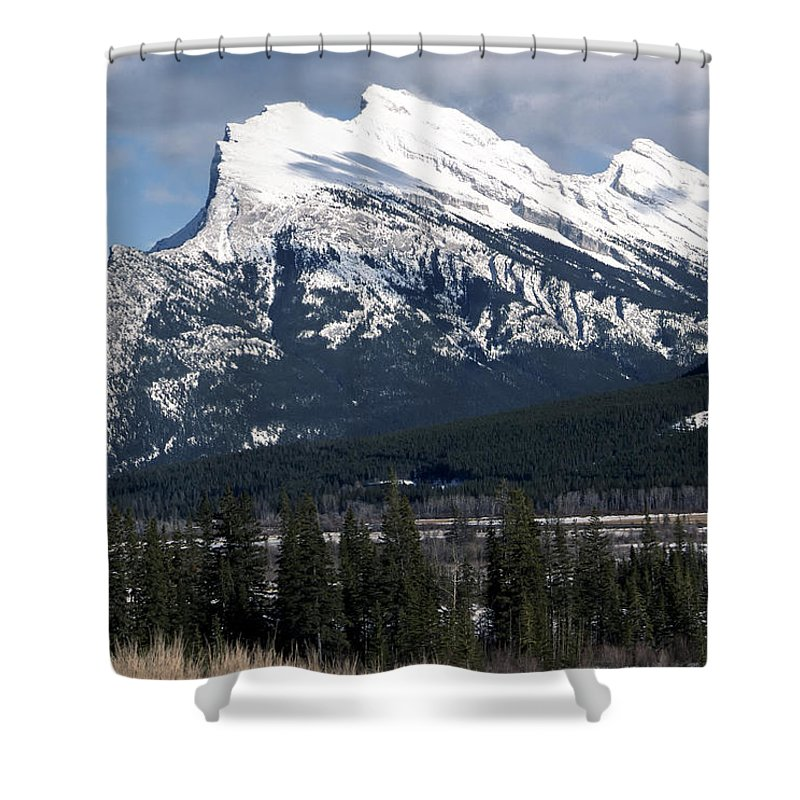 Alberta Shower Curtain featuring the photograph Sharp Rundle Peaks by Roderick Bley