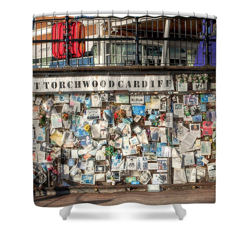 Ianto Jones Shower Curtain featuring the photograph Shrine To Ianto by Steve Purnell