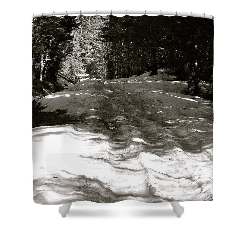 Snow Shower Curtain featuring the photograph Snow In April by Linda Hutchins