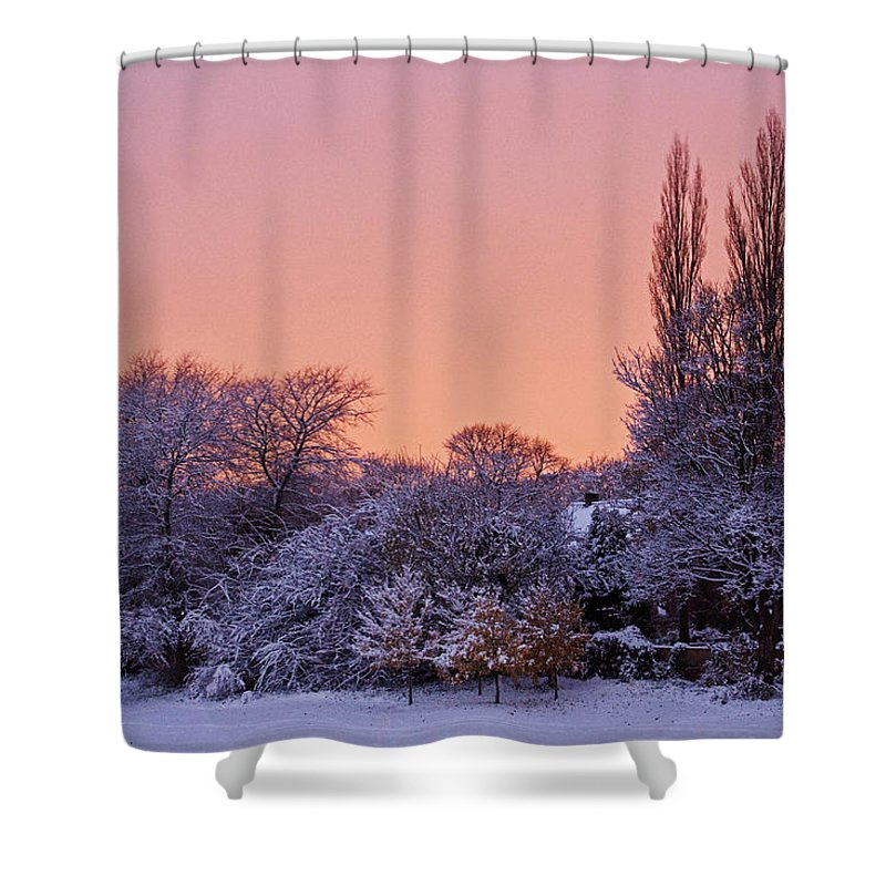 Snow Shower Curtain featuring the photograph Snow Scene At Sunrise by David Pringle