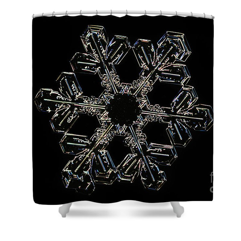 Snow Shower Curtain featuring the photograph Snowflake by Ted Kinsman