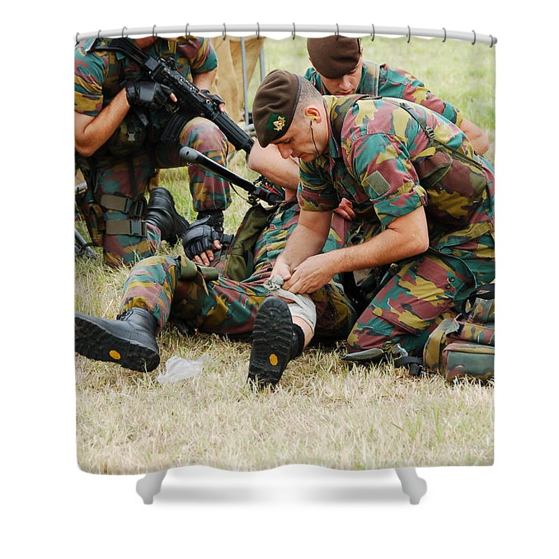Applying Shower Curtain featuring the photograph Soldiers Of A Belgian Infantry Unit by Luc De Jaeger