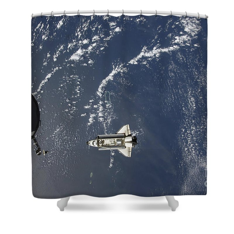 Aerial View Shower Curtain featuring the photograph Space Shuttle Endeavour Backdropped by Stocktrek Images