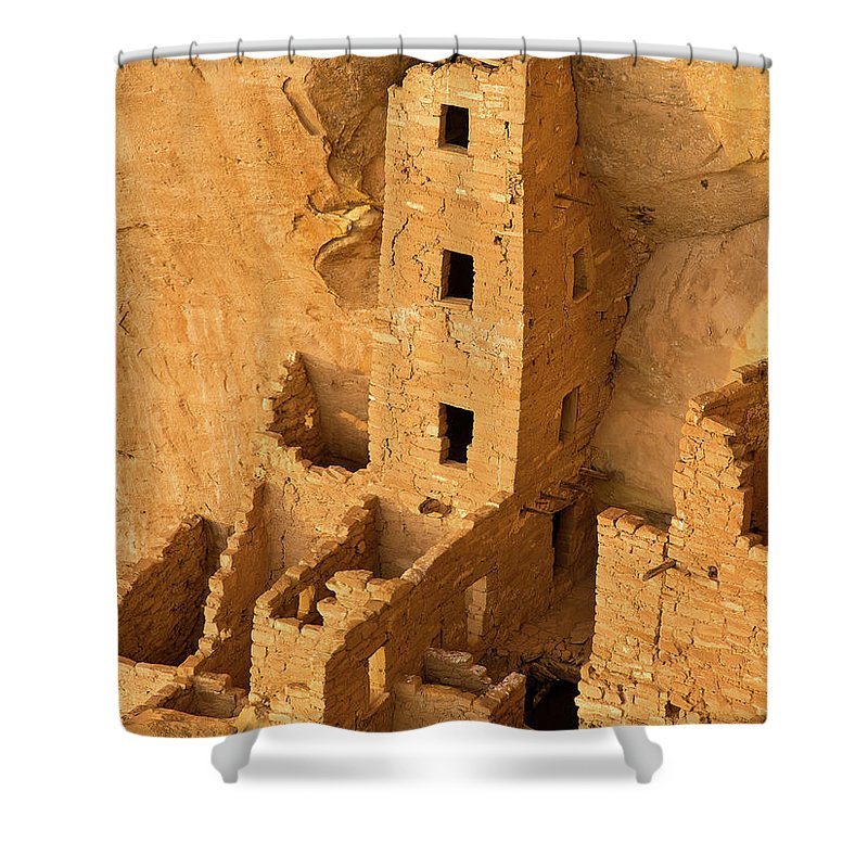 Square Tower Shower Curtain featuring the photograph Square Tower Evening by Greg Nyquist