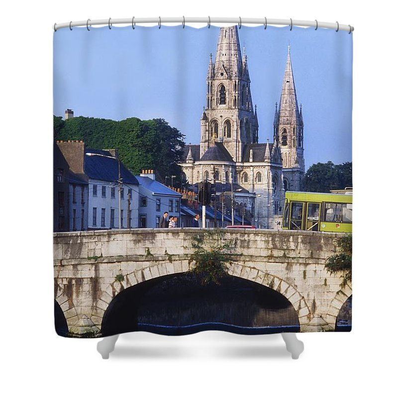 Architecture Shower Curtain featuring the photograph St. Finbarres Cathedral, Cork, Co Cork by The Irish Image Collection