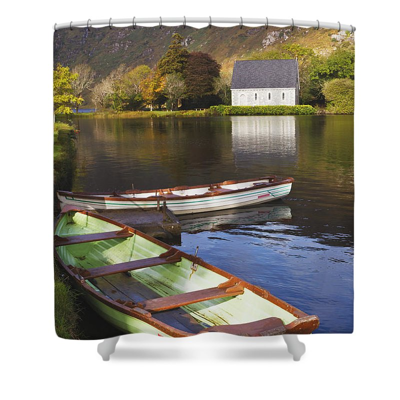 Building Shower Curtain featuring the photograph St. Finbarres Oratory And Rowing Boats by Ken Welsh