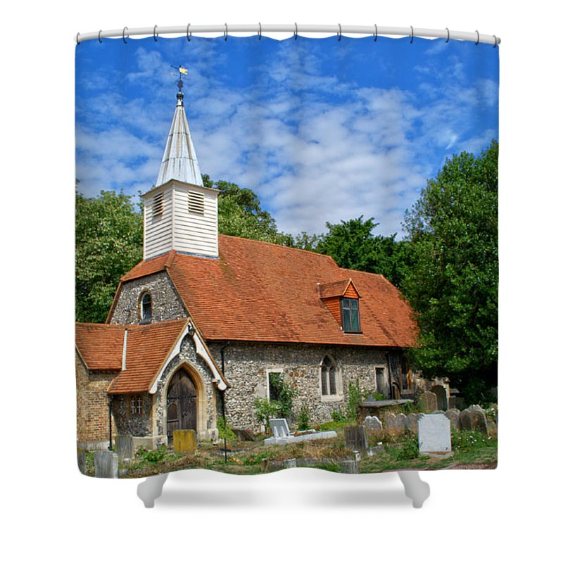 St Laurence Church Shower Curtain featuring the photograph St Laurence Church Cowley Middlesex by Chris Day