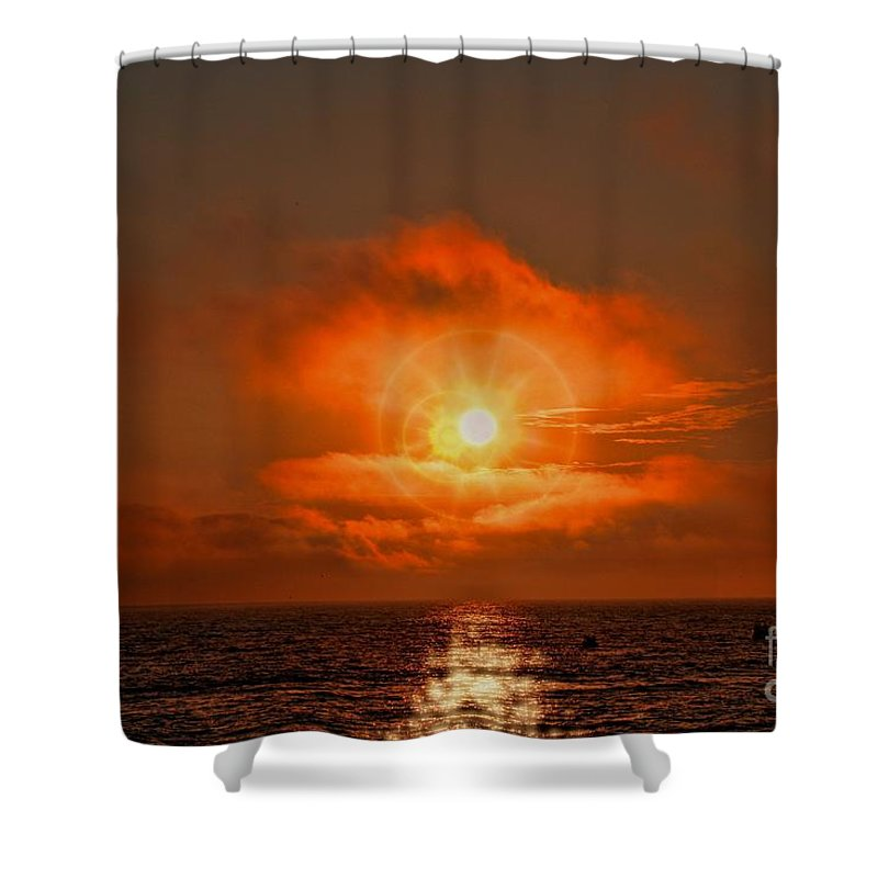 Sunset Shower Curtain featuring the photograph Sunset Over The Pacific by Tommy Anderson