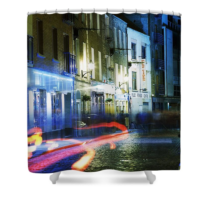 Blurred Motion Shower Curtain featuring the photograph Temple Bar, Dublin, Co Dublin, Ireland by The Irish Image Collection
