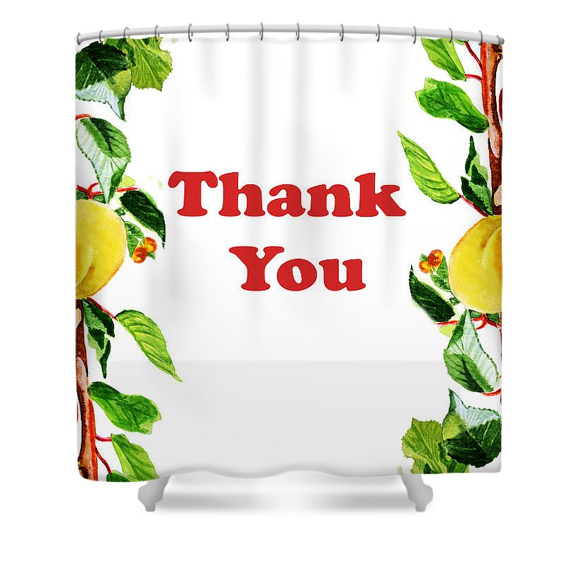 Thank-you Shower Curtain featuring the painting Thank You Card  by Irina Sztukowski