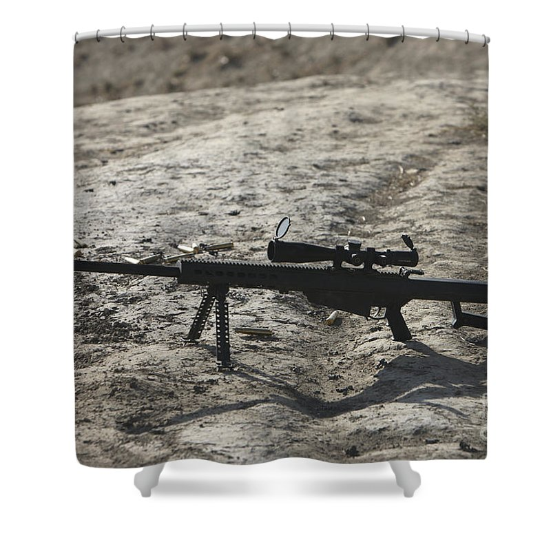 Afghanistan Shower Curtain featuring the photograph The Barrett M82a1 Sniper Rifle by Terry Moore