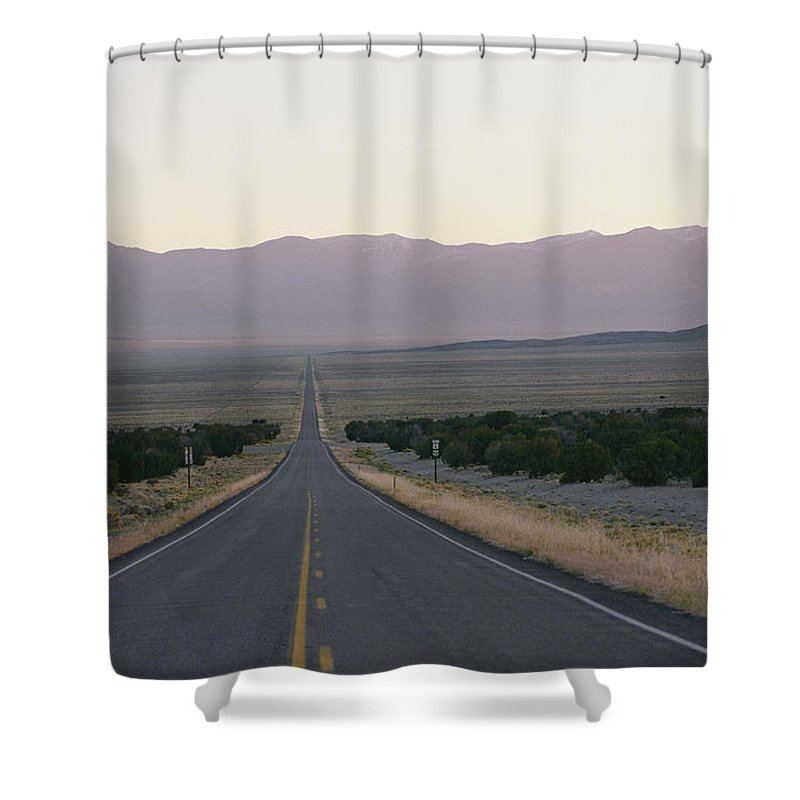 Highway 050 Shower Curtain featuring the photograph The Desolate Highway 50 by George F. Mobley