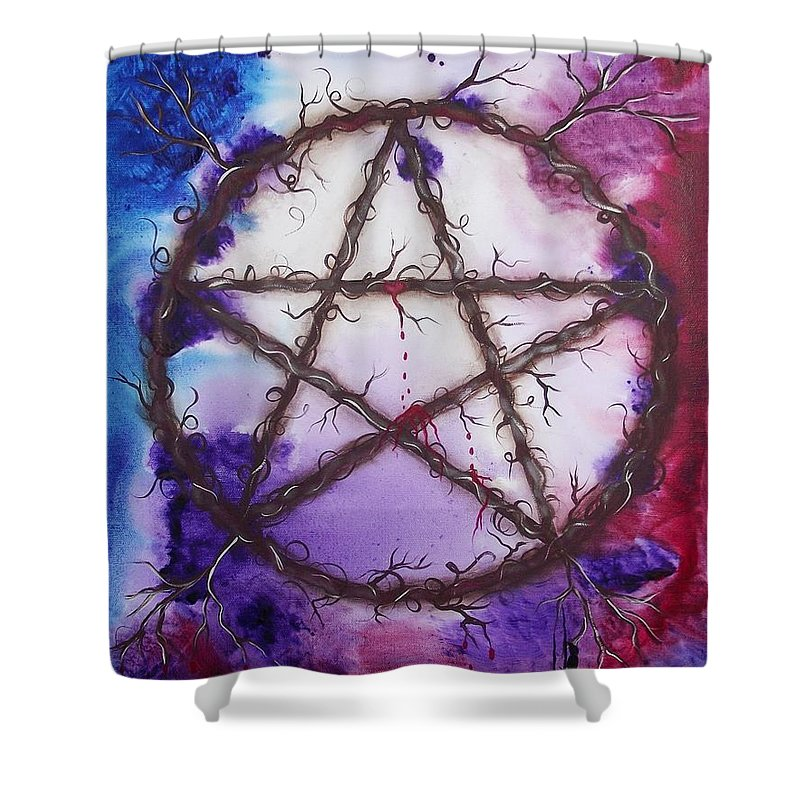 Goddess Shower Curtain featuring the painting The Goddess Speaks by Rain Crow