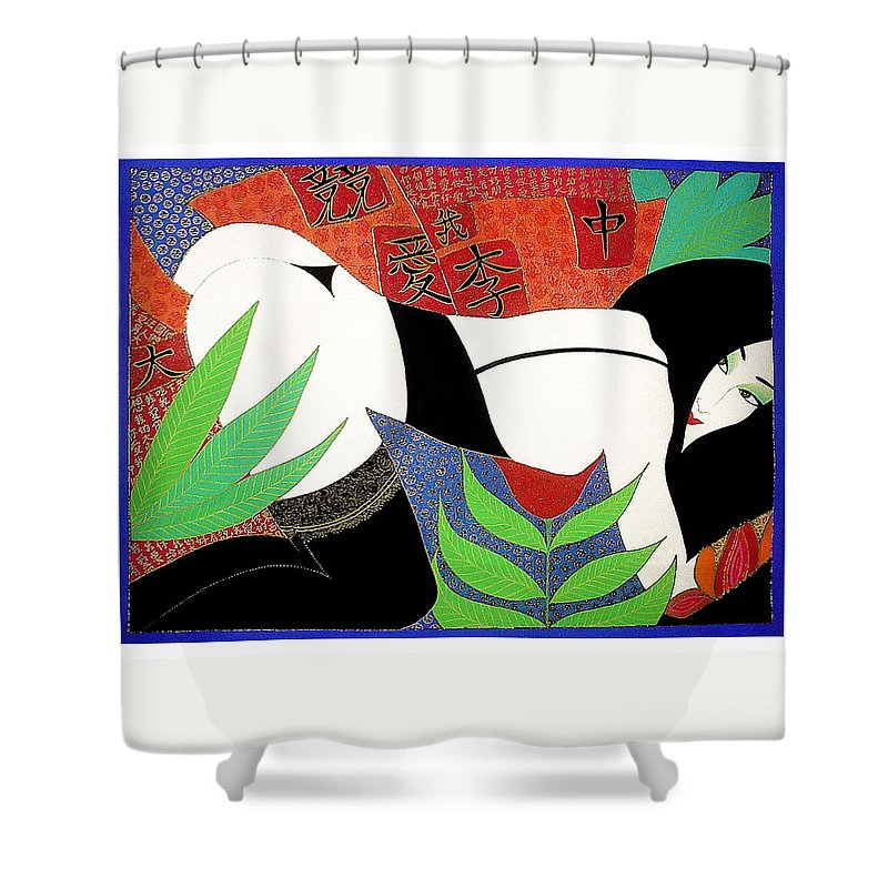 Erotic Shower Curtain featuring the painting The Last Erotic Geisha by Dulcie Dee