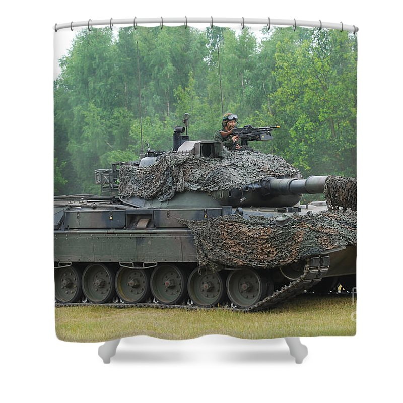 Military Shower Curtain featuring the photograph The Leopard 1a5 Main Battle Tank by Luc De Jaeger