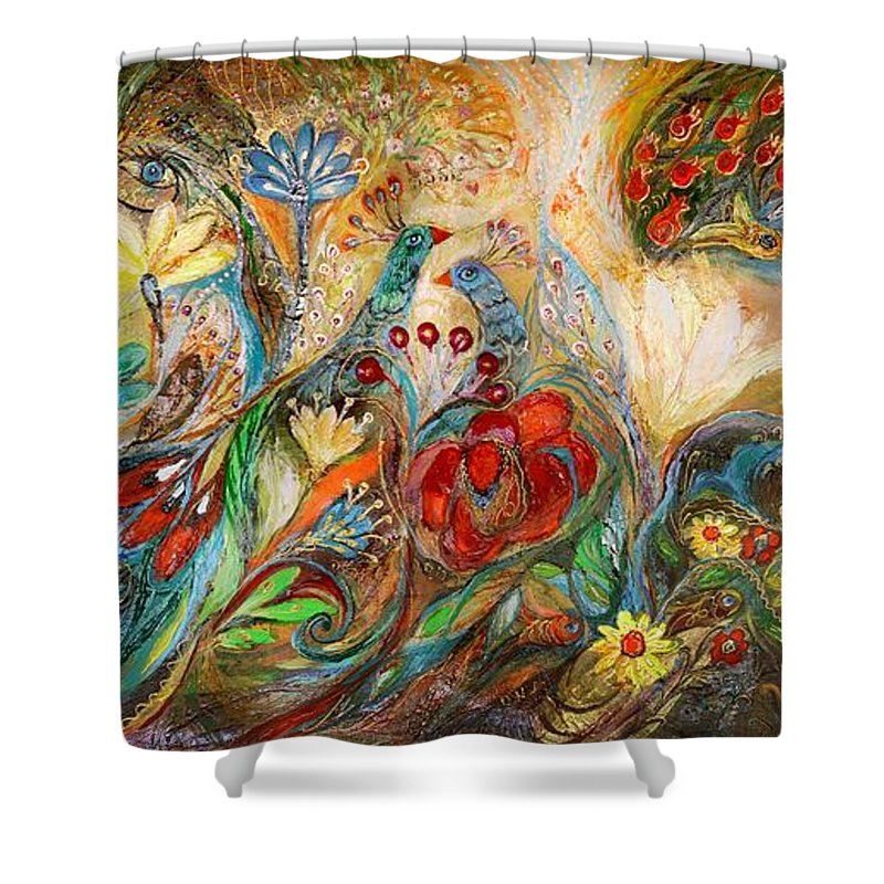 Judaica Shower Curtain featuring the painting The Mediterranean Summer by Elena Kotliarker
