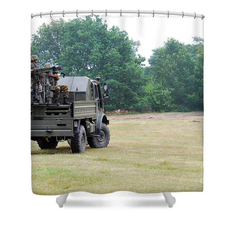 Military Shower Curtain featuring the photograph The Mistral Infrared Surface-to-air by Luc De Jaeger