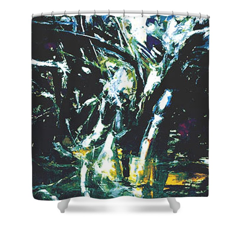 Landscape Shower Curtain featuring the painting The Mount Sinjajevina by Vladimir Vlahovic
