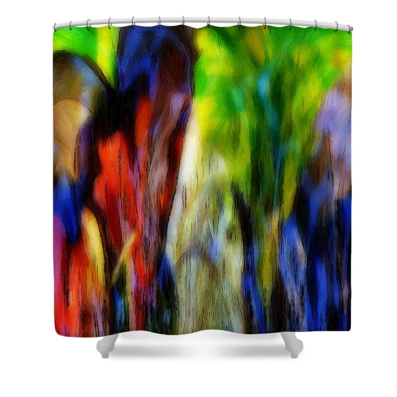 Abstract Colors Leaves Digital Painting Leaf Colorful Expressionism Autumn Nature Parrot Jungle Trees Water Animal Shower Curtain featuring the mixed media The Parrot by Steve K