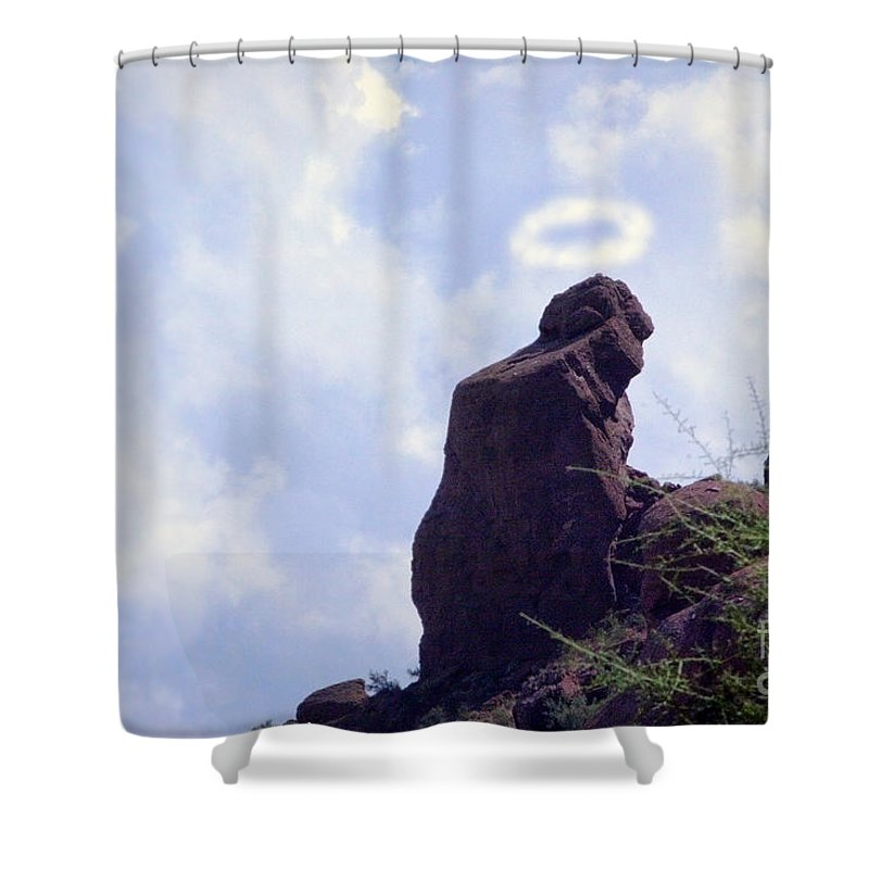 'praying Monk' Shower Curtain featuring the photograph The Praying Monk With Halo - Camelback Mountain by James BO Insogna