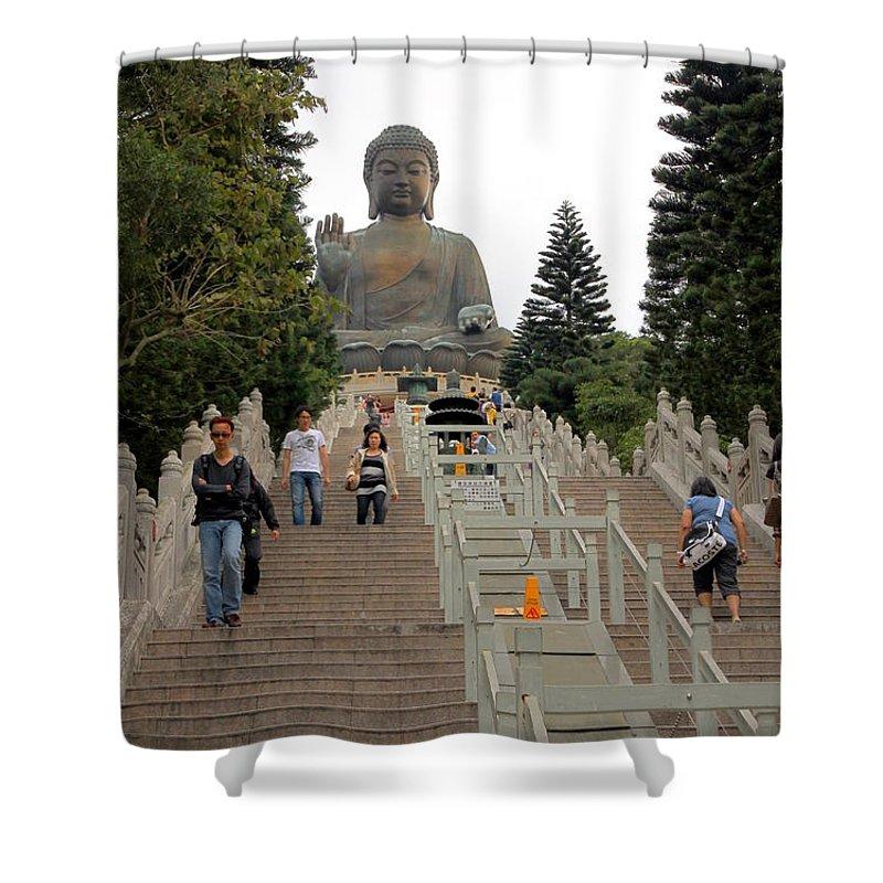 Tian Tan Shower Curtain featuring the photograph Tian Tan Buddha by Valentino Visentini