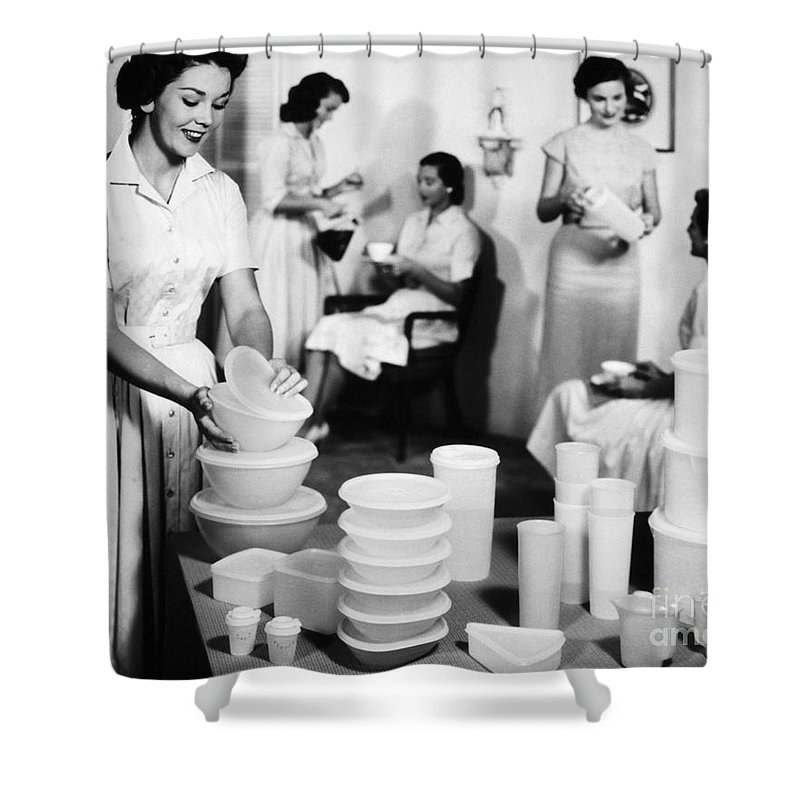 1950s Shower Curtain featuring the photograph TUPPERWARE PARTY, 1950s by Granger