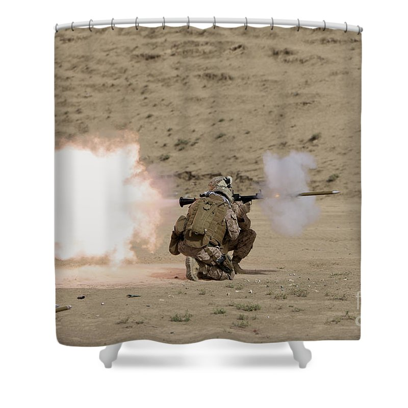 Afghanistan Shower Curtain featuring the photograph U.s. Marine Fires A Rpg-7 Grenade by Terry Moore