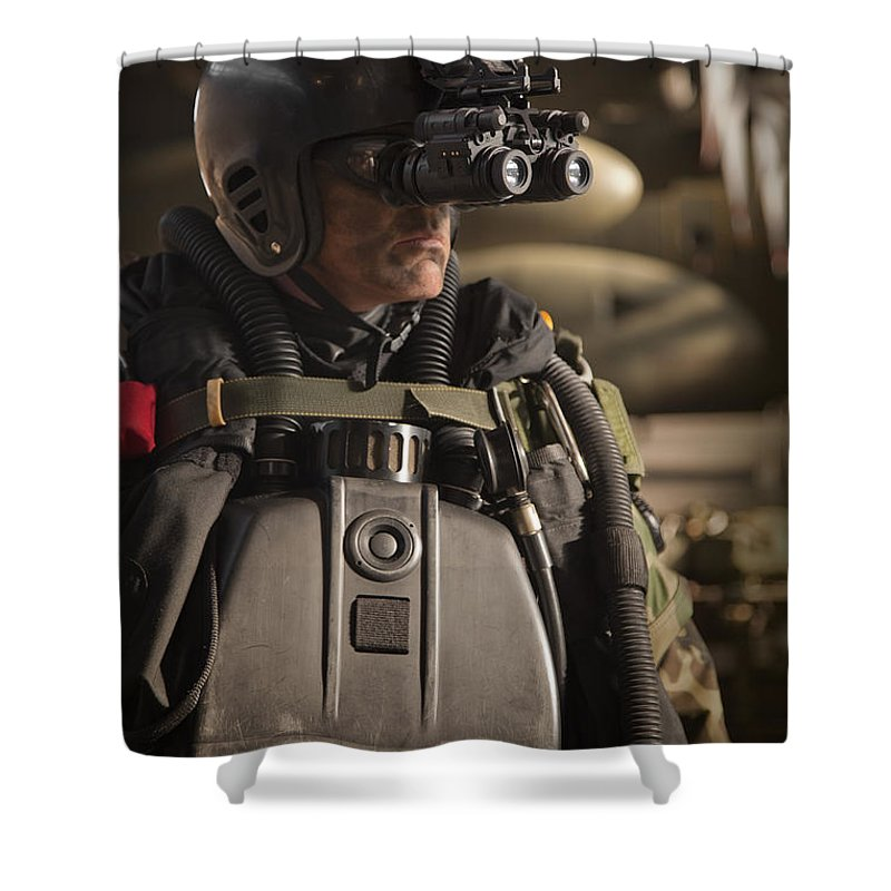 Special Operations Forces Shower Curtain featuring the photograph U.s. Navy Seal Equipped With Night by Tom Weber