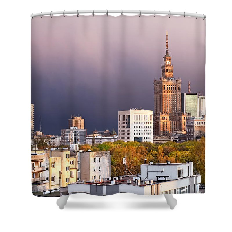 Warsaw Shower Curtain featuring the photograph Warsaw Cityscape by Artur Bogacki