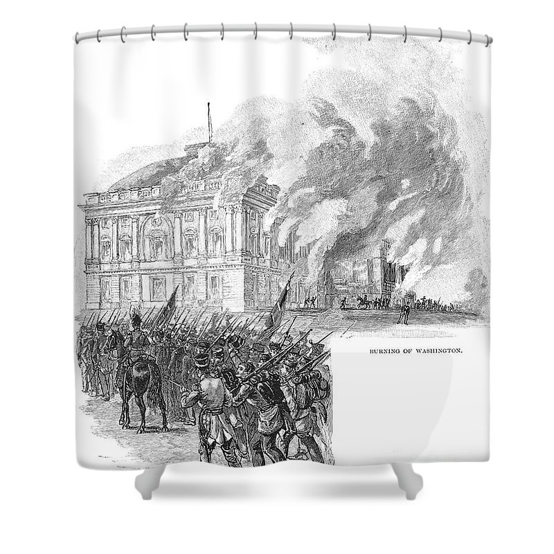 1814 Shower Curtain featuring the photograph Washington Burning, 1814 by Granger