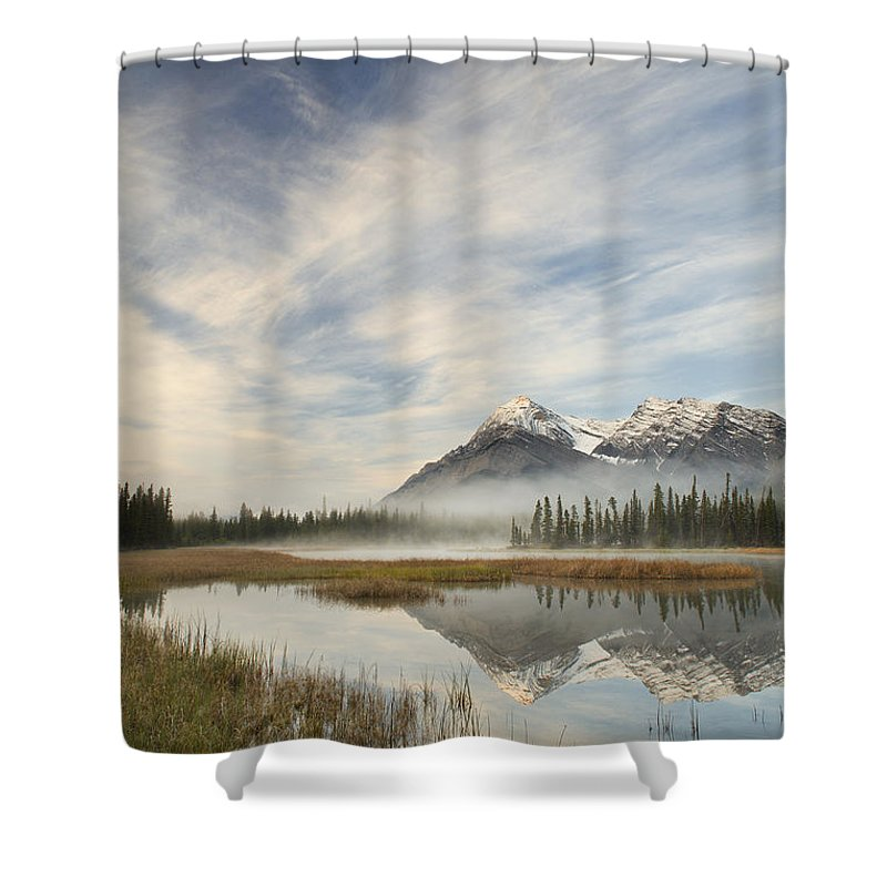 Light Shower Curtain featuring the photograph Whitegoat Lake And Mount Elliot by Darwin Wiggett