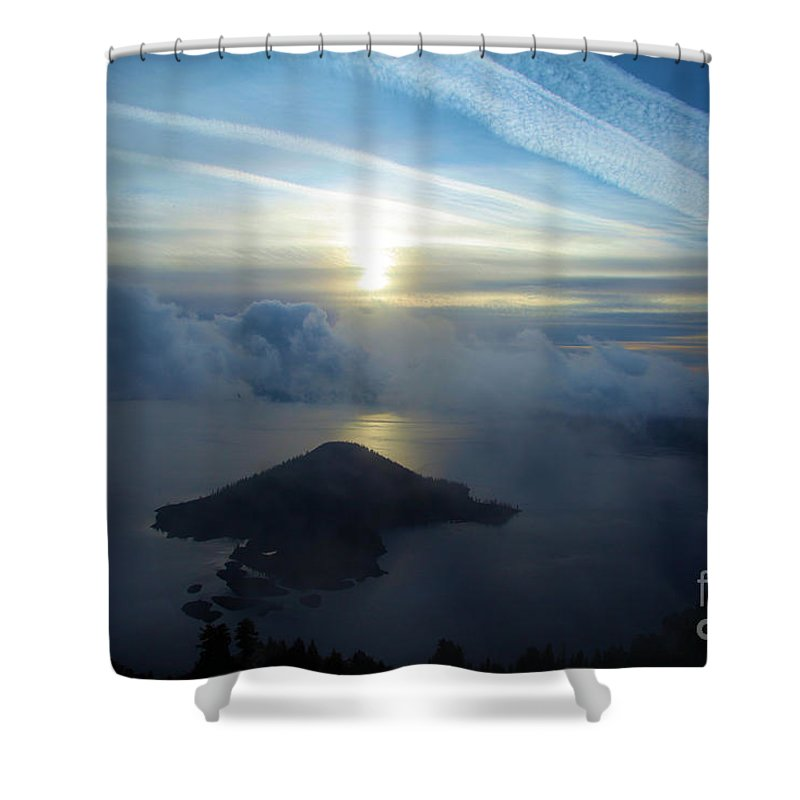 Crater Lake National Park Shower Curtain featuring the photograph Wizard Sunrise by Adam Jewell