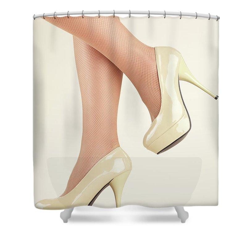 Legs Shower Curtain Featuring The Photograph Woman Wearing High Heel Shoes By Oleksiy Maksymenko