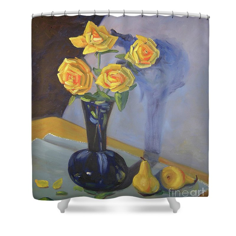 Floral Shower Curtain featuring the painting Yellow Roses And Pears by Lilibeth Andre