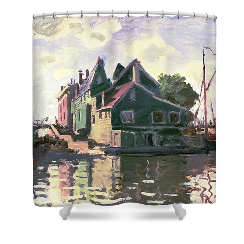 Town; Impressionist; Landscape; River Zaan; Sunlight; Boat; Boats; Canal; The Netherlands; Holland; Reflections Shower Curtain featuring the painting Zaandam by Claude Monet