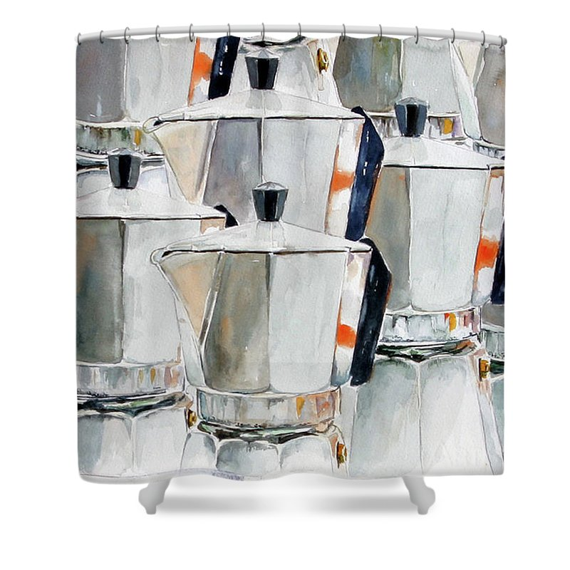 Still Life Shower Curtain featuring the painting 11 Moka by Giovanni Marco Sassu