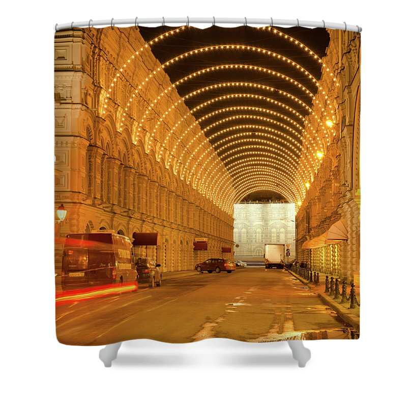 Kremlin Shower Curtain featuring the photograph Red Square In Moscow At Night by Michael Goyberg