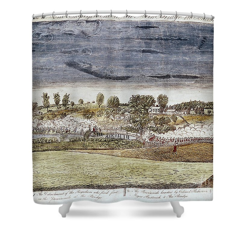 1775 Shower Curtain featuring the photograph Battle Of Concord, 1775 by Granger