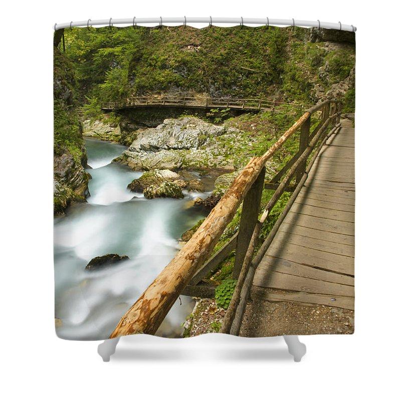 Soteska Shower Curtain featuring the photograph The Soteska Vintgar Gorge by Ian Middleton