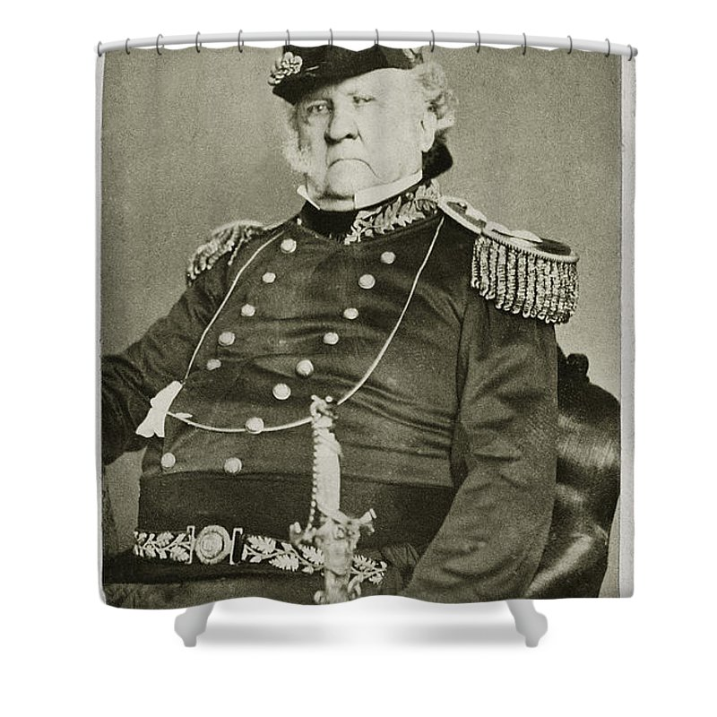 1862 Shower Curtain featuring the photograph Winfield Scott (1786-1866) by Granger
