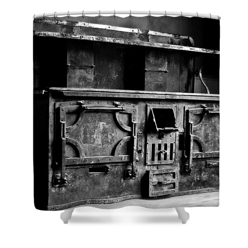 Stove Shower Curtain featuring the photograph 1800's Stove Black And White by Joseph Noonan